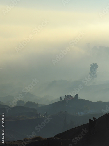 Foto op Canvas Beige Landscape of Bromo Tengger Semeru Park in a beautiful foggy sunrise