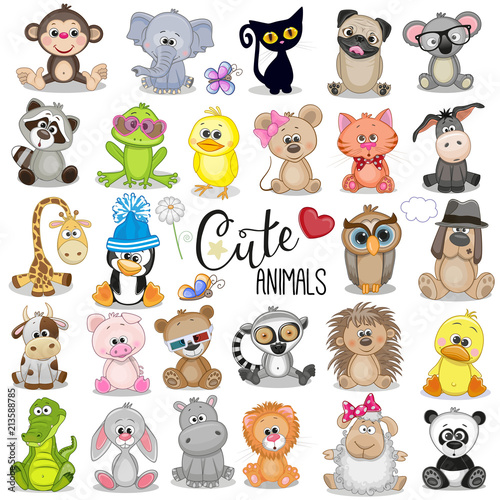 Set of Cute Cartoon Animals Slika na platnu