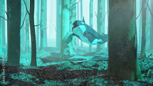 Poster Turquoise killer whale swimming in forest, orca flying in foggy landscape, surreal 3d illustration