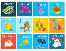 Vector Calendar With Cartoon Seasonal Symbols