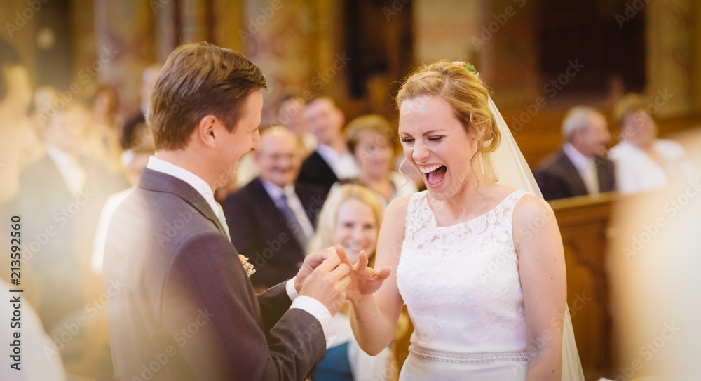 Fototapety, obrazy: Bride Smiling Happiness At Own Wedding, Groom Putting Ring, Crowd Happy