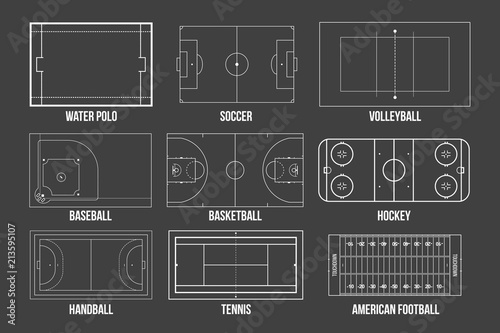 Obraz Creative vector illustration of sport game fields marking isolated on background. Graphic element for handball, tennis, american football, soccer, baseball, basketball, hockey, water polo, volleyball - fototapety do salonu