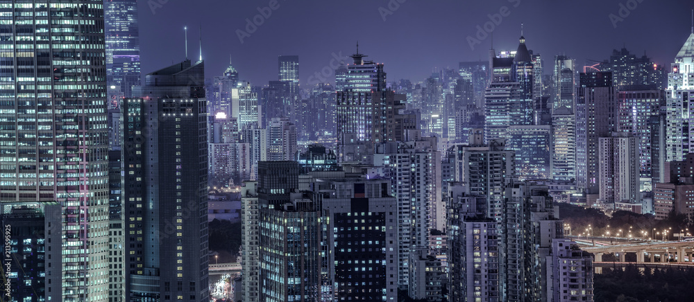 Fototapety, obrazy: building exterior and cityscape in Shanghai at night