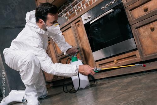 Fotografía pest control worker spraying pesticides under cabinet in kitchen
