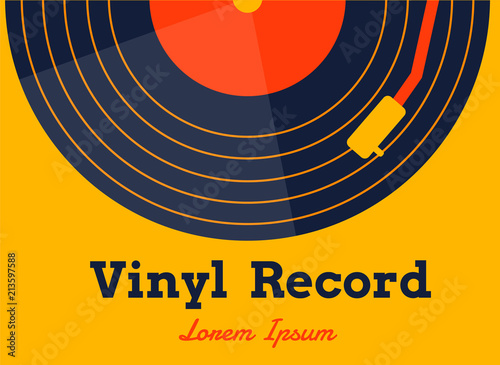 Fotografía vinyl record music vector with yellow background graphic