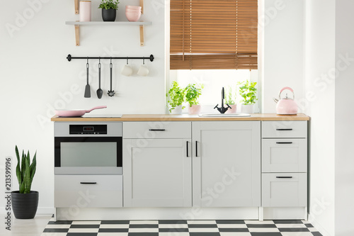 Real Photo Of A Kitchen Interior With White Cupboards Pink Accessories Plants And Window Blinds
