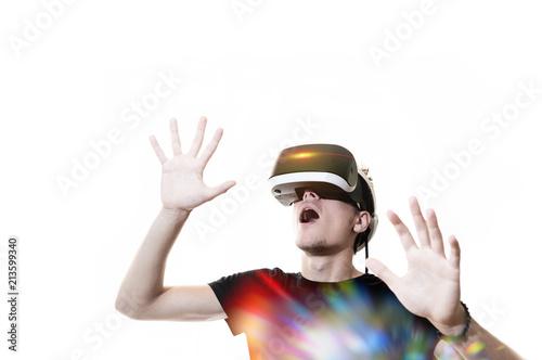 Vászonkép Réalité virtuelle 3D casque sensation jeu informatique rêve gamer avenir logicie