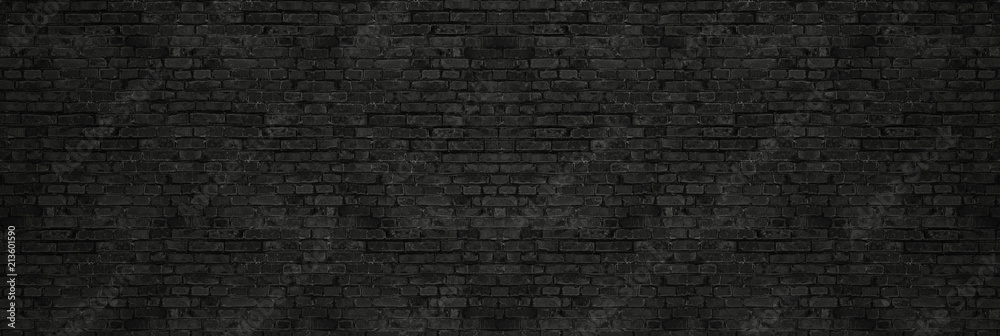 Fototapety, obrazy: Vintage Black wash brick wall texture for design. Panoramic background for your text or image.