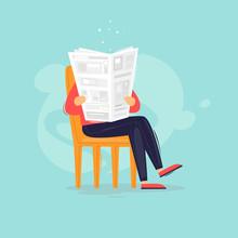 Man Reads A Newspaper, News. Flat Design Vector Illustration.