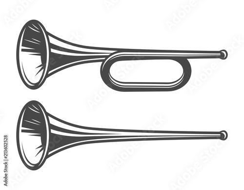 Photo Vintage medieval trumpets template