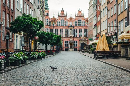 Poster Centraal Europa Vintage Old Town street in Gdansk.