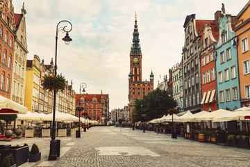 FototapetaOld Town street and buildings in Gdansk, Poland.