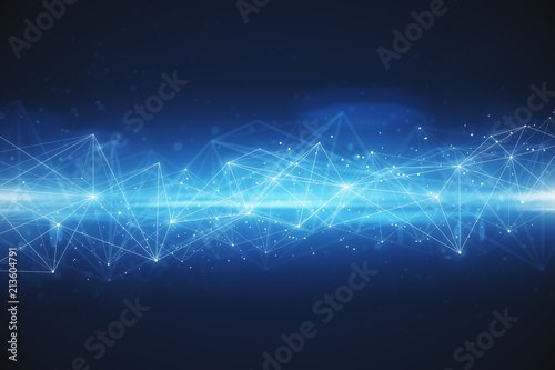 abstract polygonal space blue background Fototapet