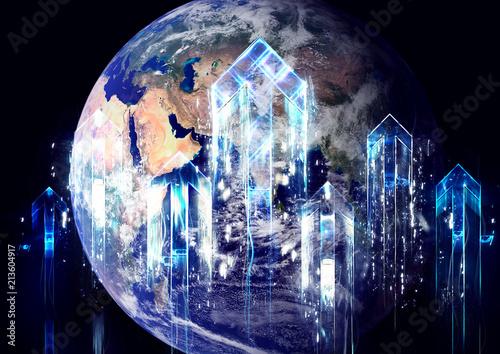 Photo  地球と上昇する光の矢
