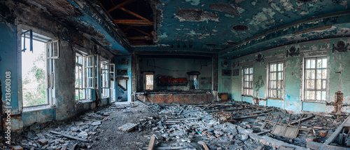 Fototapeta Ruins of the destroyed assembly hall in the house of culture in Samara, Russia