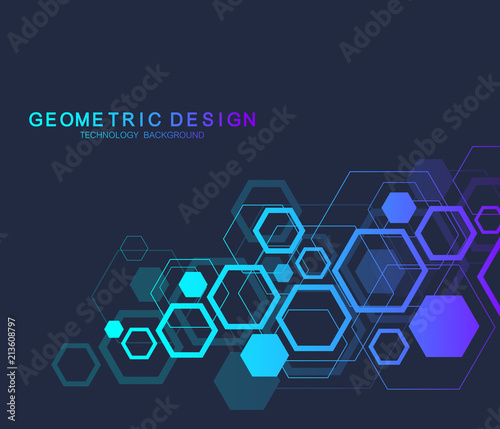 Canvastavla Geometric abstract molecule background for medicine, science, technology, chemistry
