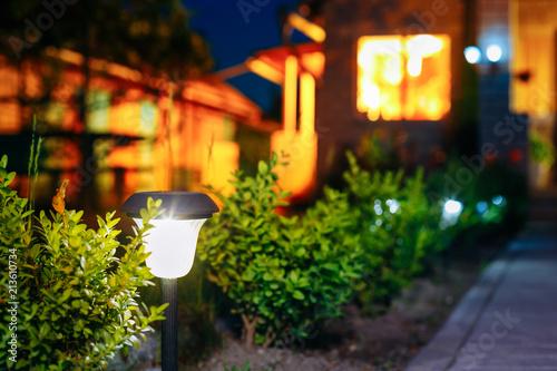 Fotografija Small Solar Garden Light, Lantern In Flower Bed. Garden Design.