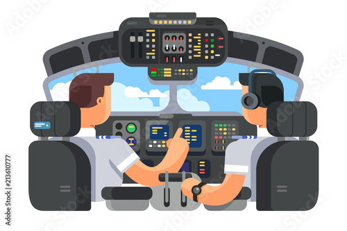 Tela Pilots in cockpit plane flat design