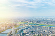 canvas print picture - Asia Business concept for real estate and corporate construction - panoramic modern city urban skyline bird eye aerial view under sun & blue sky in Tokyo, Japan