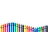 Fototapeta Tęcza - crayon drawing border multicolored background