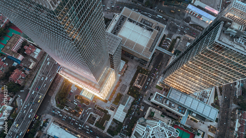 Valokuva  aerial view of business area in Nangjing Rd, Shanghai, China, at dusk