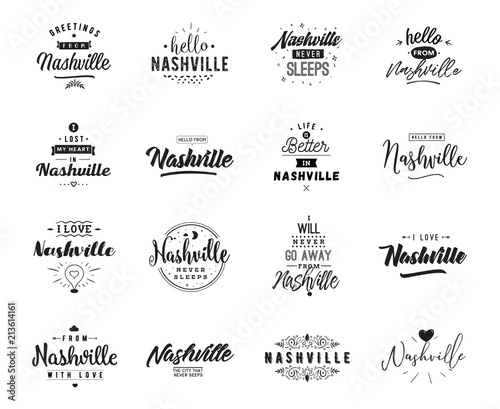 Greeting cards, vector design. Isolated logos. Typography set. Canvas Print