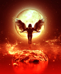 3d ilustracja anioł w niebo ziemi, Mieszanych środkach dla książkowej ilustraci lub książkowej pokrywie