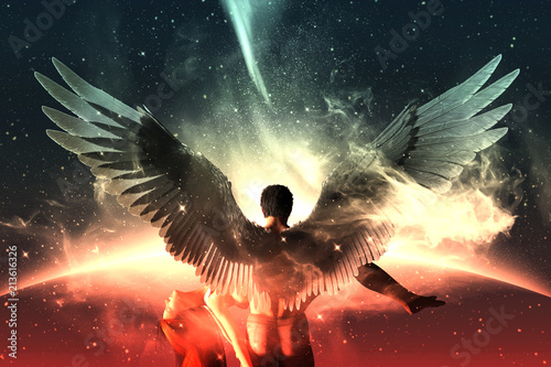 Foto  Till death do us part,3d illustration of an Angels in heaven land,Mixed media fo