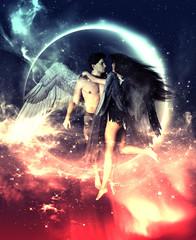 3d ilustracja aniołowie w niebo ziemi, Mieszanych środkach dla książkowej ilustraci lub książkowej pokrywie