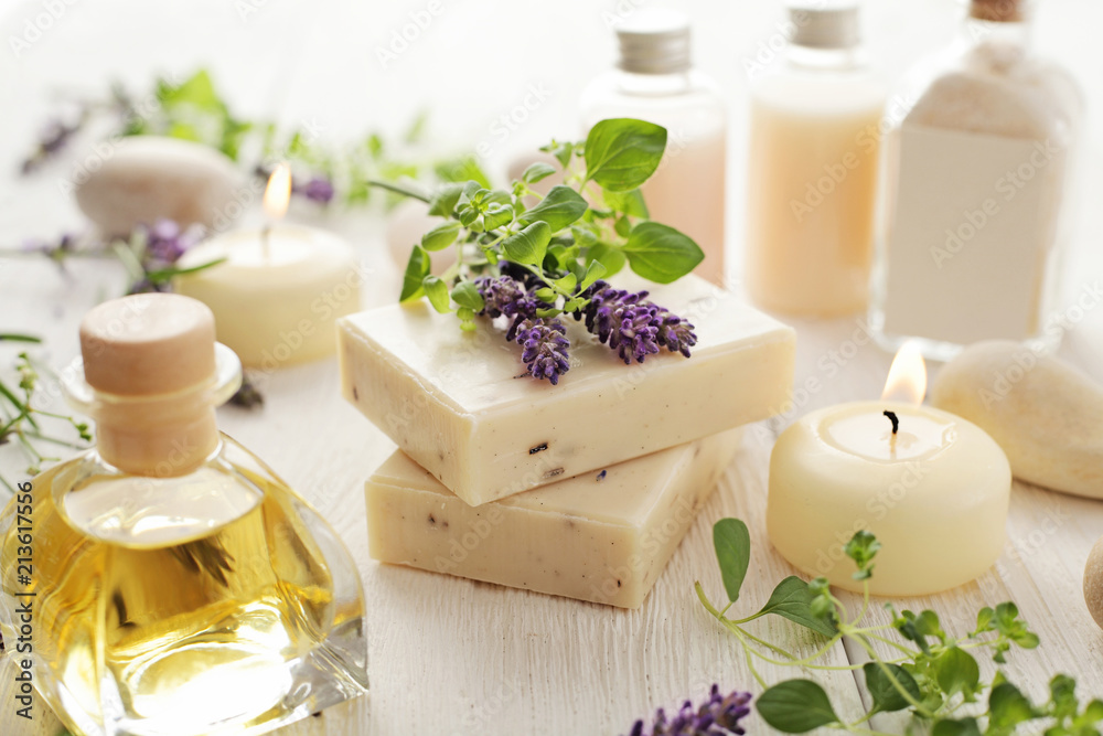 Fototapety, obrazy: lavender SPA cosmetics: soap, essential oils, aromatherapy candles and flowers