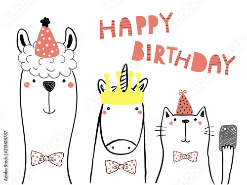 Printed kitchen splashbacks Illustrations Hand drawn birthday card with cute funny llama, unicorn, cat in party hats, taking selfie with a smart phone,quote. Isolated objects. Line drawing. Vector illustration. Design concept for kids print.