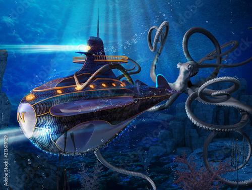 Fotografie, Obraz Captain Nemo Nautilus Submarine Attack