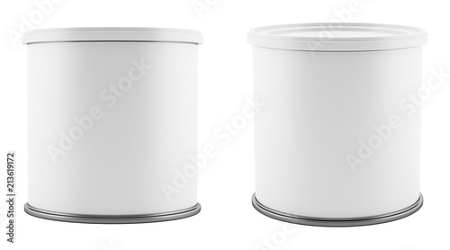 Fotomural blank metal tin can with white plastic lid isolated on white background