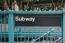 Subway Sign At The Entrance To The Station In New York, USA.