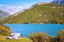 .Caravan Trailer With Bicycles. Lake Serre-Poncon. France.
