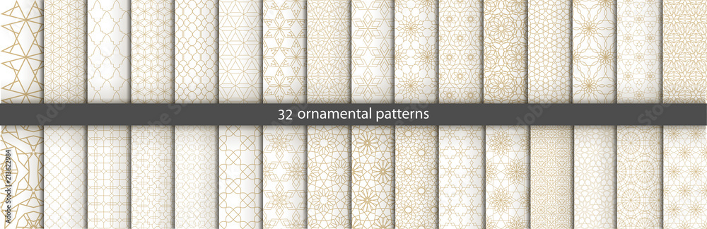 Fototapety, obrazy: Super Big set of 32 oriental patterns. White and gold background with Arabic ornaments. Patterns, backgrounds and wallpapers for your design. Textile ornament. Vector illustration.