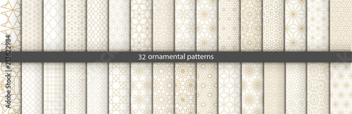 Recess Fitting Pattern Super Big set of 32 oriental patterns. White and gold background with Arabic ornaments. Patterns, backgrounds and wallpapers for your design. Textile ornament. Vector illustration.