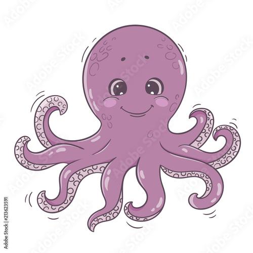 Cute cartoon octopus. Sea character