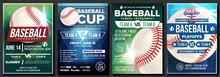 Baseball Poster Set Vector. Design For Sport Bar Promotion. Base. Baseball Ball. Modern Tournament. Sport Game Event Announcement. Flyer, Banner Advertising. Template Illustration