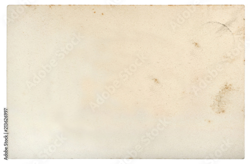Obraz Used paper sheet edges Old cardboard stains white background - fototapety do salonu