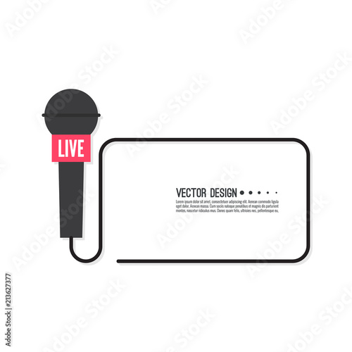 Vector Template With Microphone Symbol Breaking News On Tv And