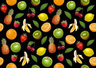 Fruits endless background. Black version