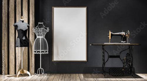 Fotografija  Mock-up poster frame in atelier, 3d render