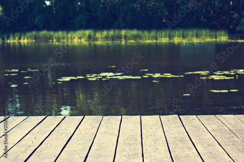 Foto op Aluminium Bomen Pier, river and forest. View of the river and pier. Beautiful summer green view, landscape. Summer background.