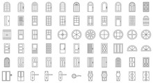 Door And Window Installation Icon Set, Thin Line