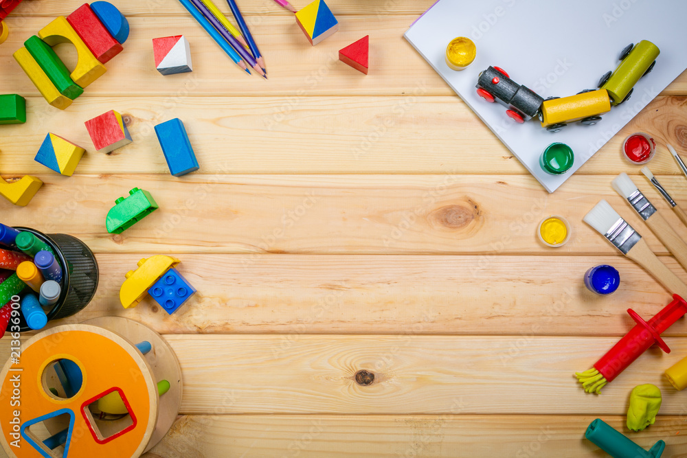 Fototapety, obrazy: Day care concept - toy and art supply