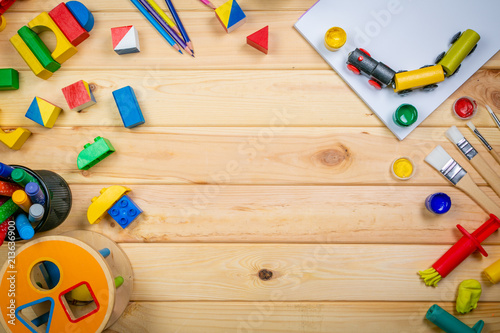 Fotografie, Obraz  Day care concept - toy and art supply