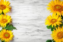 Beautiful Sunflowers On A Wood...