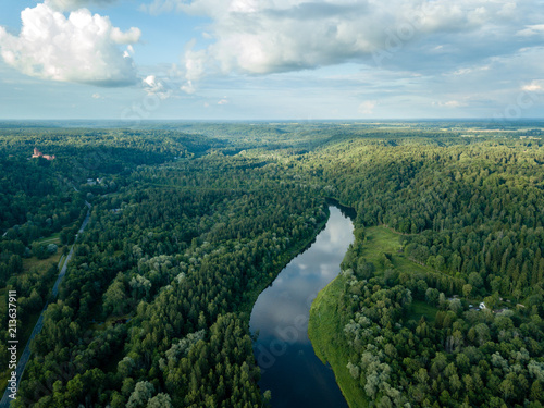 Foto op Aluminium Zwart drone image. aerial view of forests and river Gauja in the middle in summer day. Latvia, Sigulda municipality