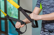loops for trx in male hands, sport